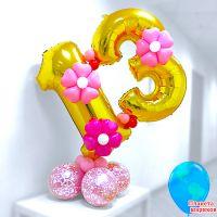 Цифра 13 с цветами (также с другими цифрами)