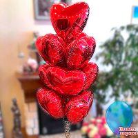 """Фонтан """"Сердца"""" из 10 шаров"""