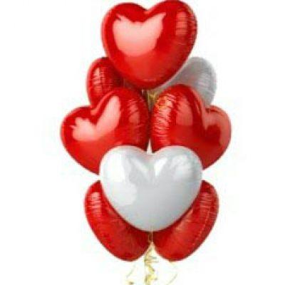 """Шары с гелием """"Сердца белые и красные"""" (46 см) 9 шт."""