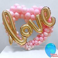 """Сердце из шаров """"Love"""" 80х80 см"""